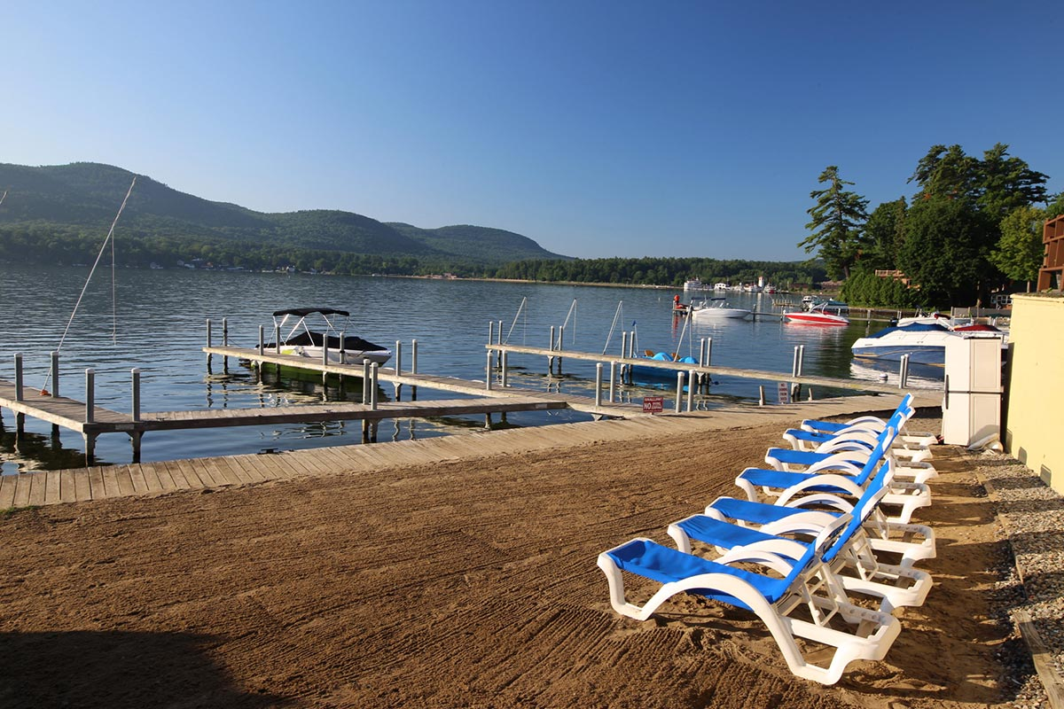 Beach and dock on Lake George