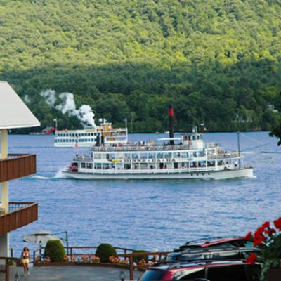 View of the Lake George steamboats from the motel