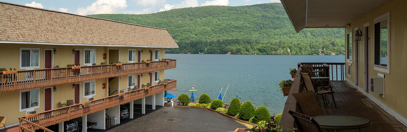 Balconies overlooking Lake George and Resort Pool