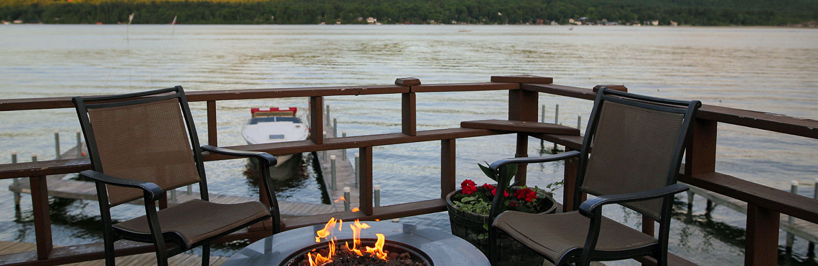 Relax by the water with a fire pit